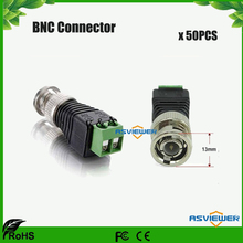 Coax CAT5 to Camera CCTV BNC M Video Balun Connector, DC connector BNC-Screw 50pcs/lot(China)
