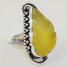 Carved Yellow Onyx  Ring  Silver Overlay over Copper , Size: 8.25,  R0775