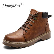 New Luxury Mens High Leather Boots Mens Designer Shoes Fashion Mens Boots Casual Work Boots For Men Cheap Mens Walking Shoes(China)