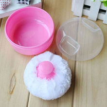 SZS Hot Mini Portable Baby Soft Face Body Cosmetic Powder Puff Sponge Box Case Container Pink(China)
