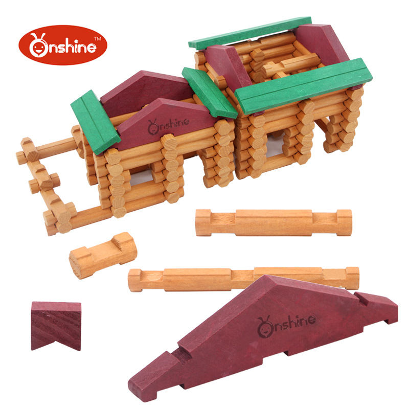 Onshine Baby Toys 170pcs Wooden Building Blocks Farm And Shop Log Set Toys General Store Treehaus Lumber Birthday Gift(China (Mainland))
