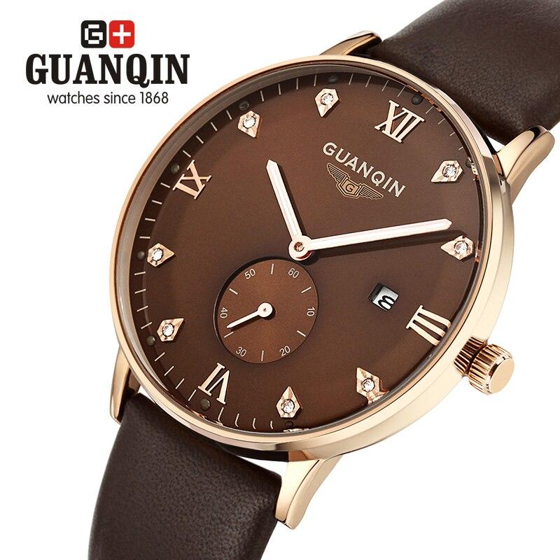 Brand GUANQIN Mens watches quartz Watch men vintage calendar Luxury relogio masculino quartz-watch erkek kol saati<br><br>Aliexpress