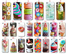 For iPhone 5 5s SE 6 6s Plus 7 7 Plus Sweet Heart Candy Dessert Ice Cream Macarons Cupcake Donut Hard Plastic Case Cover