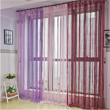 Curtain Silver Silk String Curtain Tassel Window Door Divider Sheer Curtains Home Decoration