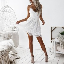 Buy Summer Women Sexy Dress White V-neck Strap Lace A-line Backless Bandage Mini Dress Ladies Club Party Vestidos for $10.67 in AliExpress store