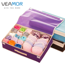 VEAMOR Brand Bra Organizer Storage Drawers Underwear Storage Boxes Non-woven Covered Bra Combo Grid Wardrobes Organizers WB211(China)