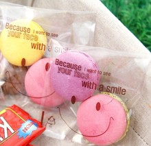 Free shipping transparent smile decoration cookie biscuit bags candy bag gift packing hand portable bags favors(China)