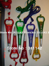 Customized bottle opener pen with string Plastic Ball Pen With String Short Ballpoint Pen