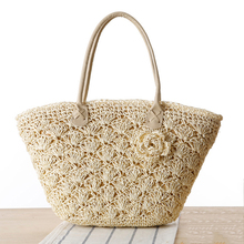 MISS YING 2017 Summer Beach Bag Women Handmade Woven Straw Shell Hook Flower Shoulder Bag Female High Quality Traveling Tote Bag