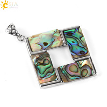 CSJA Copper Slide Buckles Pendants Women Jewelry Making Beaded Chain Necklace Hollow Square Natural Abalone Shell Charms E469(China)