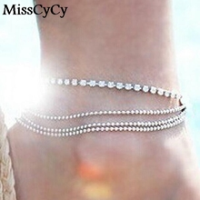 MissCyCy 2016 New Fashion Foot Jewelry Silver Plate Multilayer Metal Ball Chain Rhinestone Beach Anklets Bracelets For Women(China)