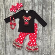 girls Christmas new design X-mas outfits baby kidswear reindeer leopard clothes red/white dot ruffle pant with accessories(China)