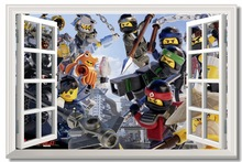 Custom Canvas Wall Mural Ninja Warriors Poster Lego Ninjago Movie Wallpaper 3D Window Stickers Kid Bedroom Decoration #0776#