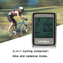 Lixada Wireless Bicycle Computer Waterproof Speedometer Bike Computer Cycling Odometer with LCD Blue Backlight ABS Sensor