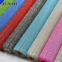 JUNAO 24*40cm Glass Crystal Rhinestone Trim Banding Hotfix Strass Crystal Mesh Bridal Beaded Applique For Dress Clothes Jewelry(China)