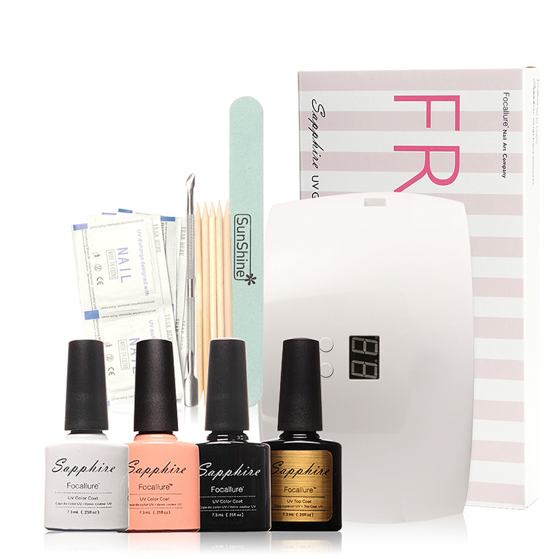 FOCALLURE French Kit Set SUN9X  LED Lamp 3 Colors Soak Off Gel Polish, top coat,Cleanser,Removers ,Full Manicure<br>