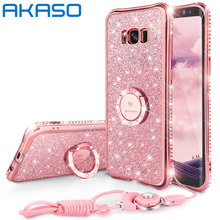 AKASO Full protection Diamond Rhinestone Case For iphone 6 6S 7 7 plus For Samsung Galaxy S8 S8Plus Case Ring Strap Cover Case(China)