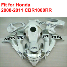 Injection mold fairing kit for HONDA CBR1000RR 2008 2009 2010 2011 CBR 1000 RR 08 09 10 11 white silver REPSOL fairings set DF20