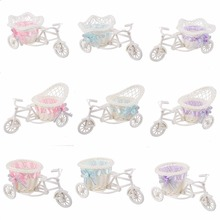 Hot Sale Rattan Tricycle Bike Basket Vase Garden Wedding Party Office Bedroom Decoration Casamento Mariage(China)