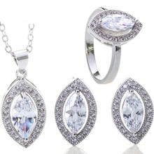 Elegant ladies shiny pointed oval zircon bridal suite (Necklace, earrings, Ring)
