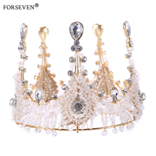 Round 100% Handmade Luxurious Gold Crystal Queen Wedding Crown Tiara For Bride Hair Accessories Hair Jewelry Prom Party Hairwear(China)