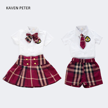 School uniforms children Plaid british style kid suit formal girls white blouse with bowknot skirt 2 pcs set boy shirt pants tie(China)