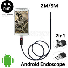 5.5mm Lens Android USB Endoscope Camera 2M 5M Flexible Snake USB Pipe Detection Android Phone PC OTG USB Borescope Camera 6LEDS