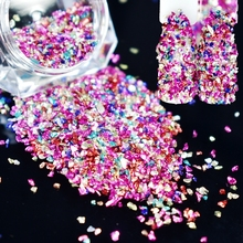 6g Nail Art Crushed Glass Broken Powder Decoration Colorful Glitter Powder 3D Nail Rhinestones For Makeup Tool D8118(China)