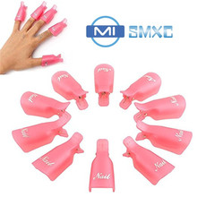 MISMXC Professional 10pcs Durable Reusable Plastic Nail Art Polish Soak Off Remover Wrap Cleaner Clip Cap Tool (Pink)