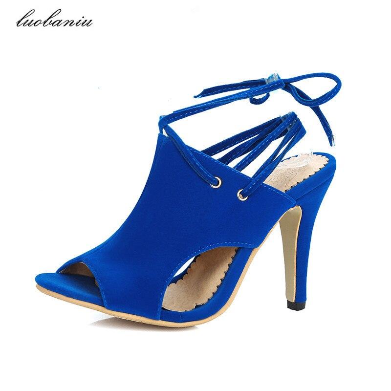 34-43 Peep Toe High Heels Shoes Women Summer Shoes 2017 Natural Suede Women High Heels Shoes Slingbacks High Quality<br>