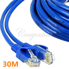 Blue 30M 100 FT RJ45 CAT5 CAT5E Ethernet LAN Network Net Working Cord Cable Sync Line M to M For Computer Laptop
