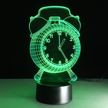 Novelty Alarm Clock 3D Visual LED Night Light Colorful transformation 3D Touch/Remote Table lamp Baby Room Decor Child Kids Gift(China)