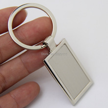 Wholesale-50Pcs Blank Rectangle Metal Key Chain High Quality Promotion Key Tags Customize Logo Laser Keyrings - Free Shipping(China)