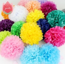PomPoms 1pcs 30cm Tissue Paper Artificial Flowers Balls Wedding Decoration Crafts Party Home Supplies Car Pom Pom Decorative