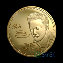 100pcs/lot wholesale commemorative gold plated crafts Elvis Presley The king of Rock & Roll Memorial music coins collectibles(China)