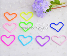 Free Shipping,2015 New 100pcs/lot Neon Color Silicone Hair Bands Fashion Kids Girls Heart/Flower Style Hair Ropes/Bangles