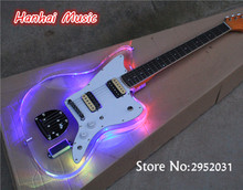 Free Shipping-Electric Guitar,Acrylic Transparent Body,Vintage Yellow Headstock,2 Open Humbuckering Pickups,LED Lights on Body