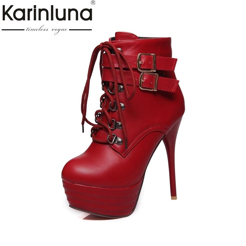 KARINLUNA Large Size 32-43 Super High Heels Women Shoes Woman Sexy Platform Ankle Boots Buckles Shoeslace Party Wedding Footwear<br>