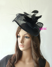 2017 NEW 13 colours Black sinamay Fascinator hat for kentucky derby Wedding.