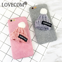 LOVECOM DIY Cute Hat Fuzzy Plush Winter Soft TPU Phone Back Cover Cases For iPhone 6 6S Plus Phone Bags & Case(China)