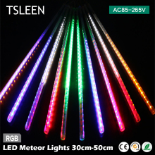 +On Sale Cheap+ 2835 LED Meteor Light 85-265V Snow Fall Shower 10Tubes Lamp Outdoor Christmas Xmas Tree US/EU Plug