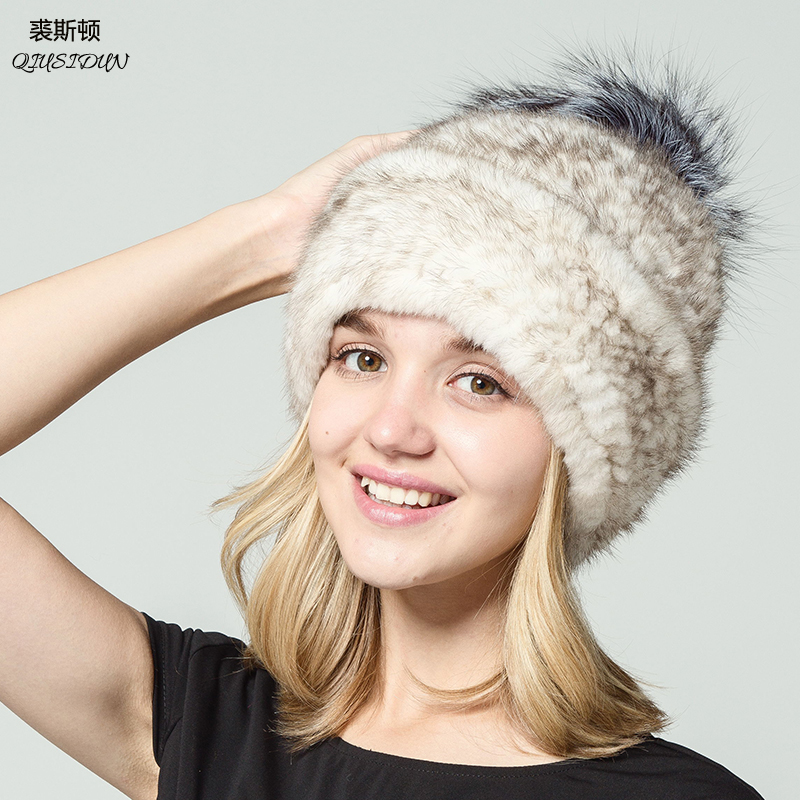 2017 Pure natural mink knitted fur hat woman Fox hair ball in fashion in winter Warm hat Russian woman Flanging Baotou hats Îäåæäà è àêñåññóàðû<br><br>