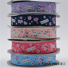 QY0325!22mm high density thermal transfer HAND MADE flowers five styles Polyester ribbon wedding gift packaging ribbon 50 yards