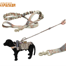 Military Tactical Hunting Dog Leash with Dual Handle Versatile Longer Training Bungee Leash Airsofsports Paintball Accessories