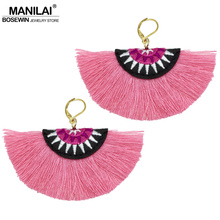MANILAI Bohemian Embroidery Fringe Earrings For Women Handmade Cotton Tassel Big Dangle Drop Earrings Ethnic Statement Jewelry(China)