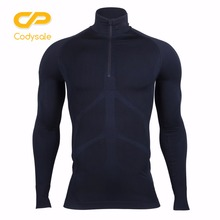 Codysale Men's Compression Zipper T-shirts Fitness Long Sleeve Shirt Thermal Base Layers Tops Sweatshirt Wholesale Apparel Tees