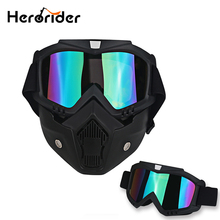 Bike Motorcycle Face Mask Goggles Motocross Motorbike Open Face Detachable Goggle Helmet Vintage Glasses Ski Cycling Eyewear