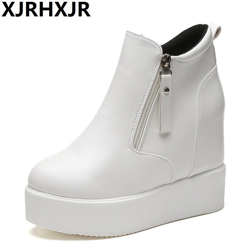 Platform Thick Bottom Shoes Woman Black White Ankle Boots Ladies Hidden Heel Casual Autumn Winter Martin Boots Ladies Shoes<br>