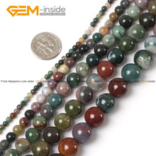 Gem-inside Natural Round Indian Agates Stone Beads Tiny Small Spacer Seed Beads For Jewelry Making DIY Jewellery 15inches(China)