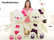 fillings toy love you bear plush toy huge 120cm white teddy Bear,scarf bear doll soft throw pillow birthday gift b1029(China)